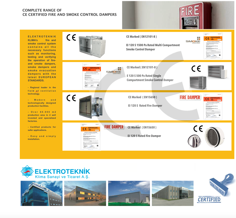 COMPLETE RANGE OF CE CERTIFIED FIRE AND SMOKE CONTROL DAMPERS